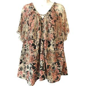 Lucky Brand Floral Ruffle Blouse Sheer Pink 2X
